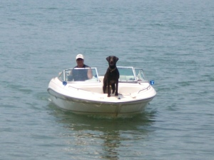 Roxy and Kevin on the boat