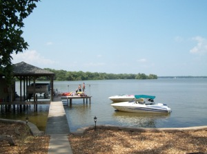 All of our boats docked at the house at Lake Weiss